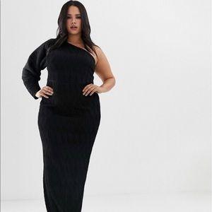 Brand New: Curve one sleeve black rib maxi dress